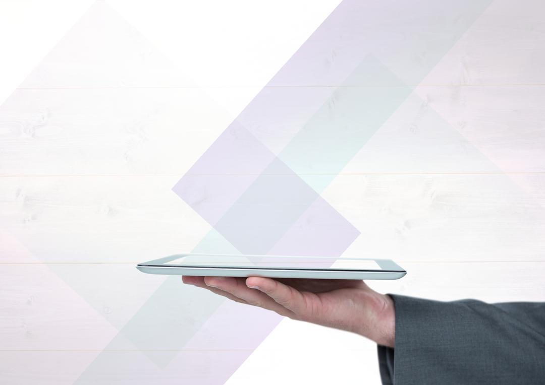 Digital composite of Hand holding tablet against minimal bright background