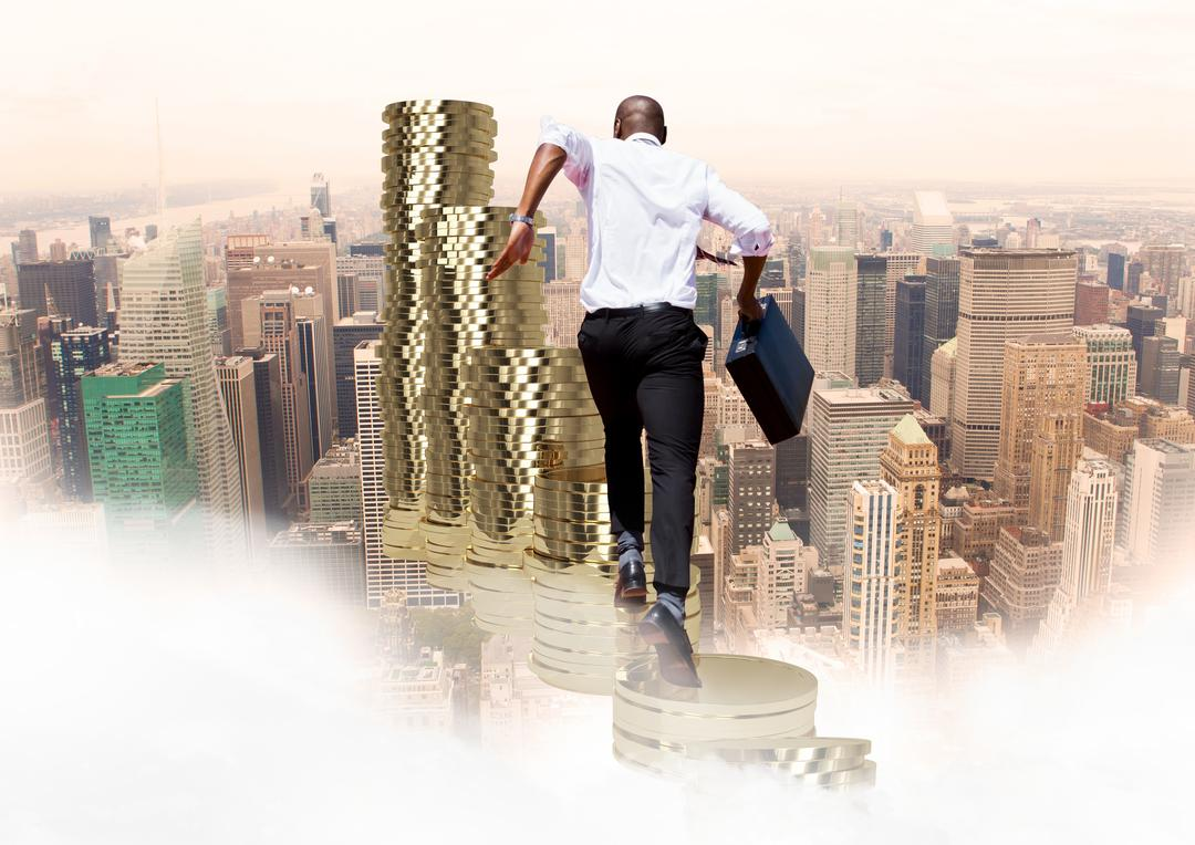 Digital composition of businessman with briefcase running on stack of coins against cityscape in background Free Stock Images from PikWizard