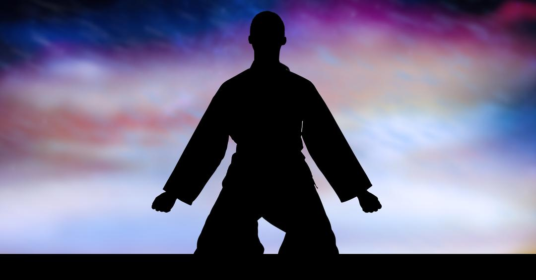 Silhouette of karate man sitting against digitally generated sky background Free Stock Images from PikWizard