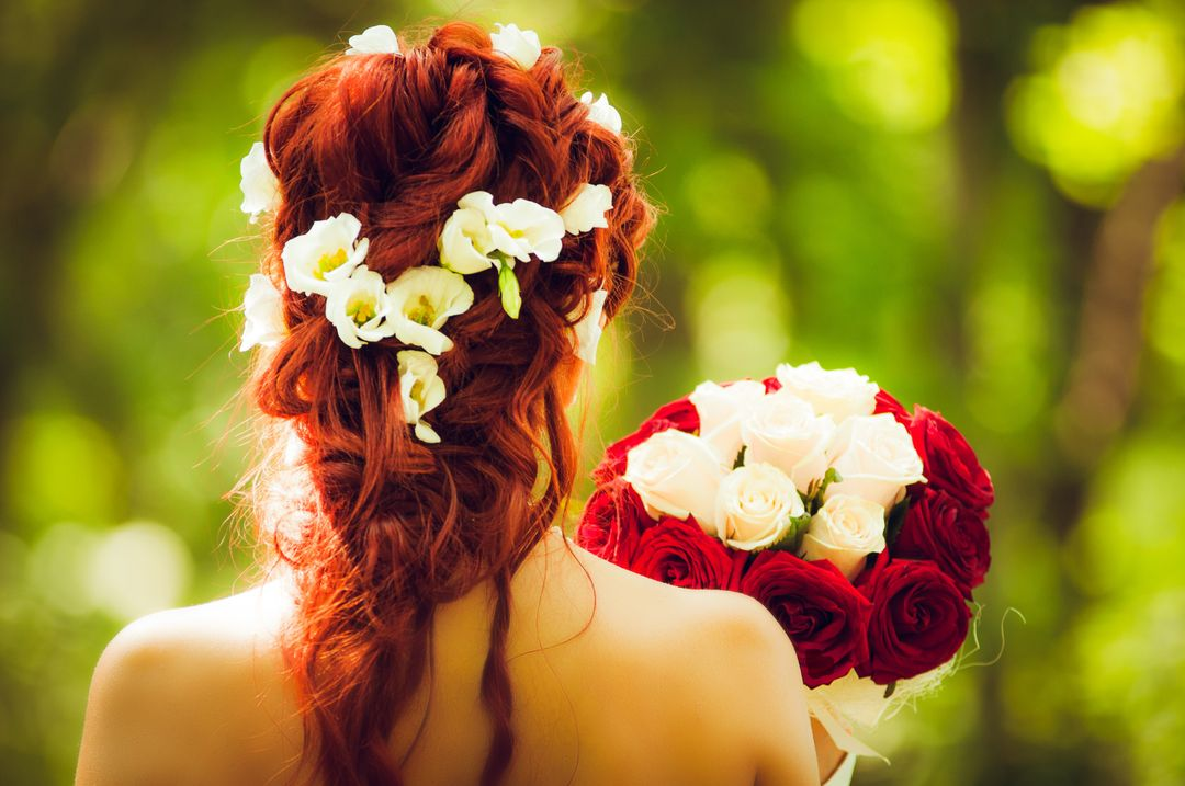 Image of a Woman with an Updo from Behind