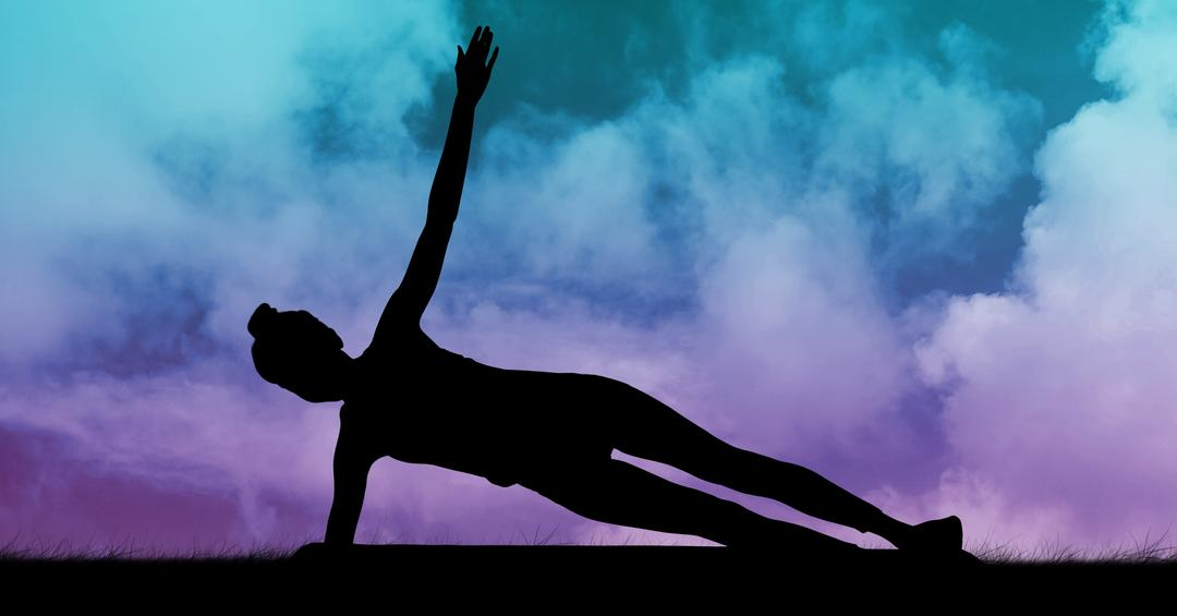 Digital composition of woman silhouette practicing yoga on grass against sky background Free Stock Images from PikWizard