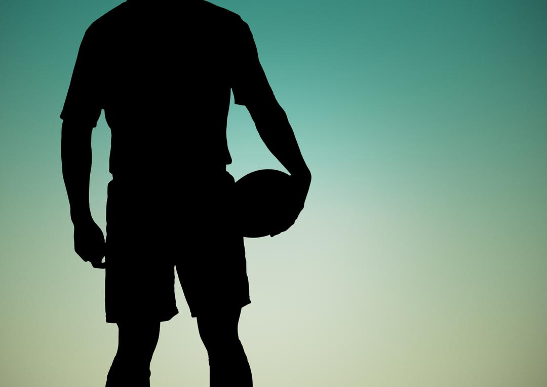 Digital composition of silhouette of player holding rugby ball against green background Free Stock Images from PikWizard