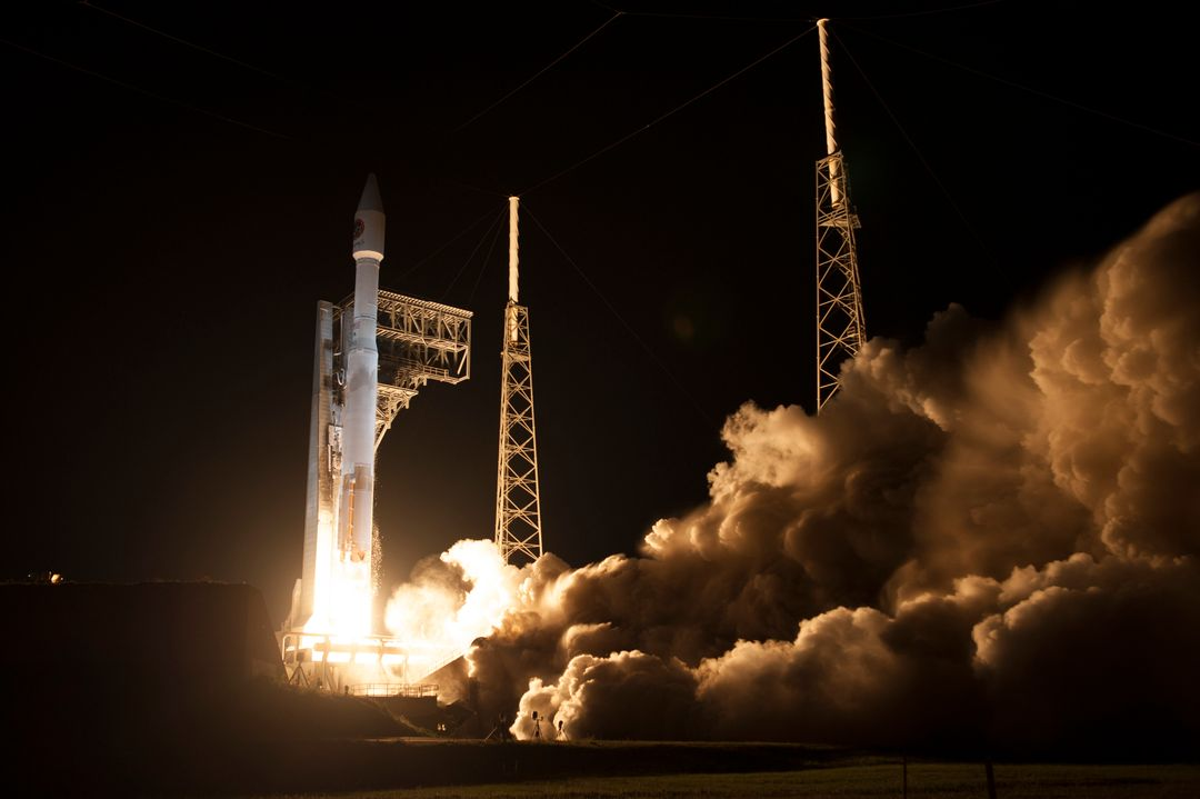 A United Launch Alliance Atlas V rocket lifts off from Space Launch Complex 41 at Cape Canaveral Air Force Station in Florida carrying an Orbital ATK Cygnus resupply spacecraft on a commercial resupply services mission to the International Space Station. Liftoff was at 11:05 p.m. EDT. Cygnus will deliver the second generation of a portable onboard printer to demonstrate 3-D printing, an instrument for first space-based observations of the chemical composition of meteors entering Earth's atmosphere and an experiment to study how fires burn in microgravity.