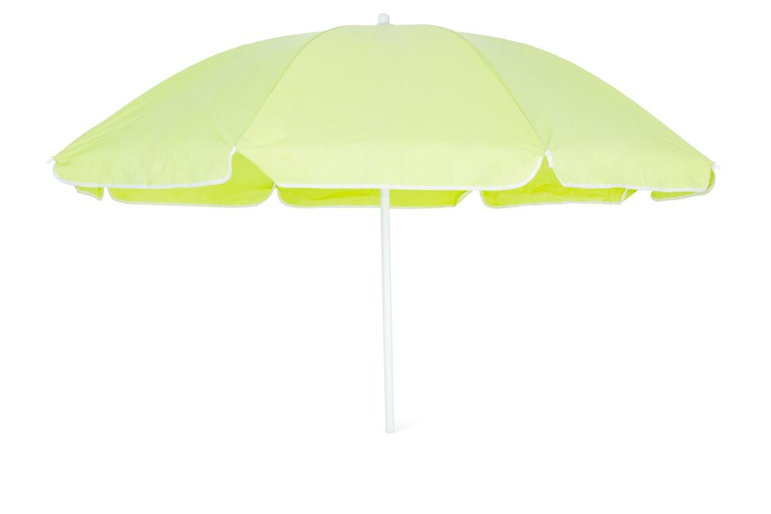 Green beach umbrella isolated on white background
