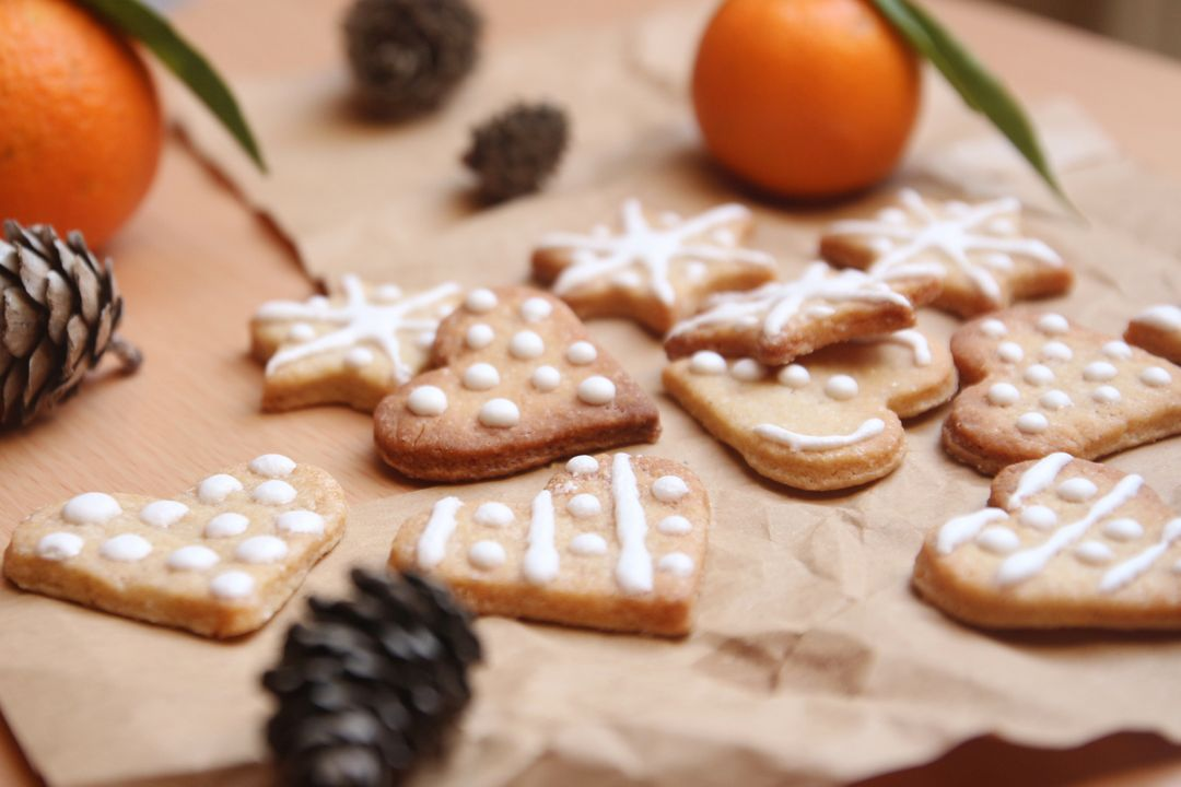 Home-baked cookies surrounded by winter decorations