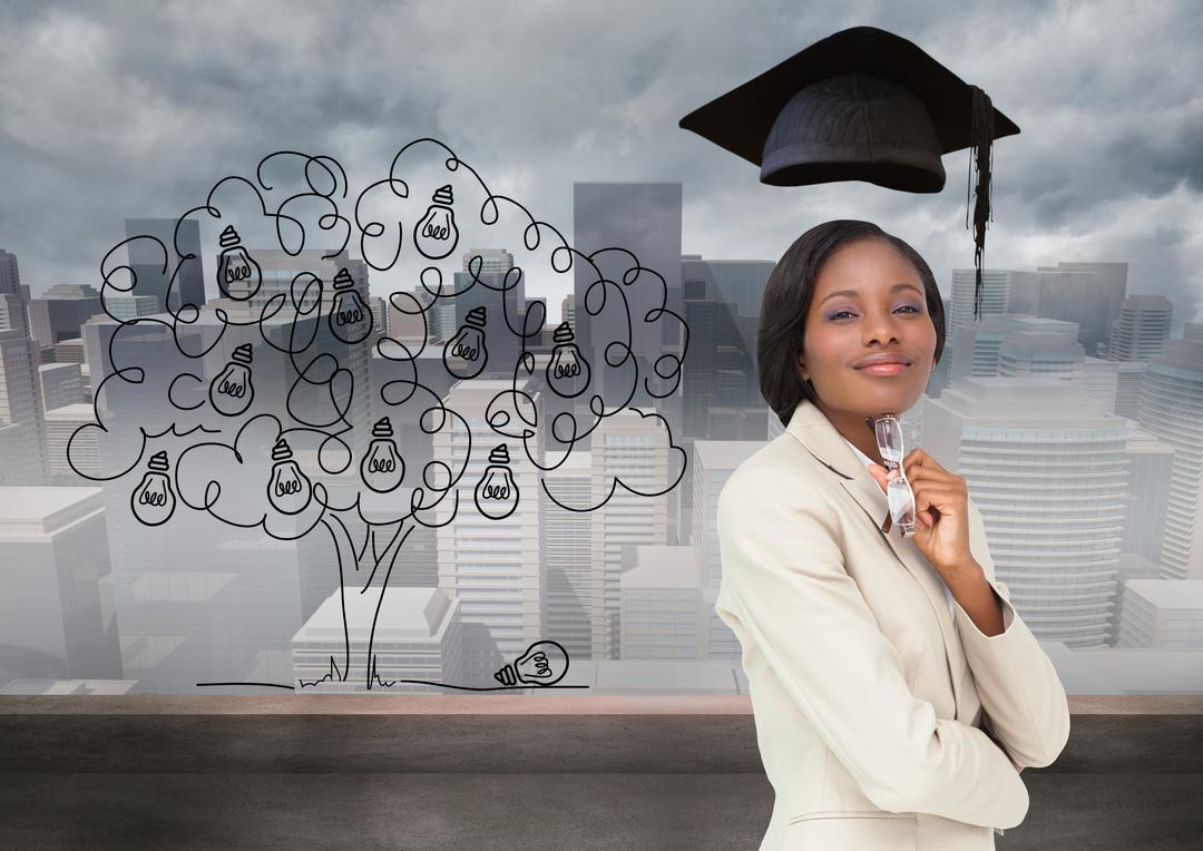 Digital composition of confident businesswoman with graduation cap against cityscape in background Free Stock Images from PikWizard