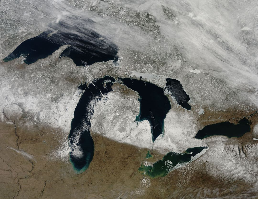 "NASA image captured March 28, 2011  The Great Lakes  Satellite: Terra  <b><a href=""http://www.nasa.gov/centers/goddard/home/index.html"" rel=""nofollow"">NASA Goddard Space Flight Center</a></b> enables NASA's mission through four scientific endeavors: Earth Science, Heliophysics, Solar System Exploration, and Astrophysics. Goddard plays a leading role in NASA's accomplishments by contributing compelling scientific knowledge to advance the Agency's mission.  <b>Follow us on <a href=""http://twitter.com/NASA_GoddardPix"" rel=""nofollow"">Twitter</a></b>  <b>Join us on <a href=""http://www.facebook.com/pages/Greenbelt-MD/NASA-Goddard/395013845897?ref=tsd"" rel=""nofollow"">Facebook</a></b>"