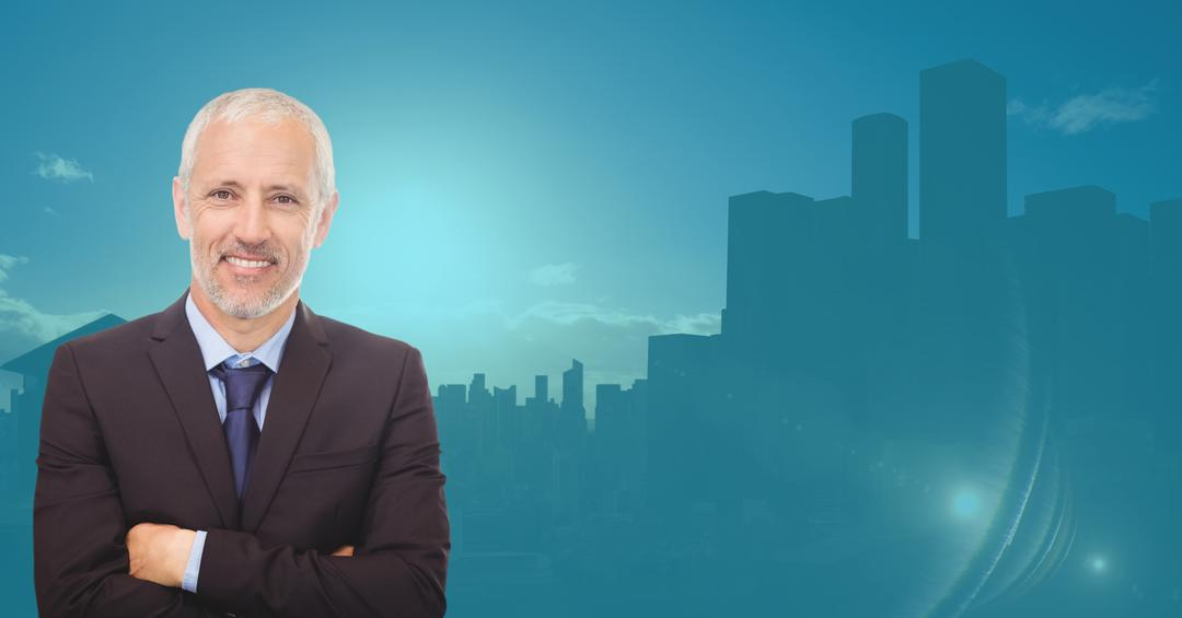 Digital composite image of businessman standing with arms crossed against city background