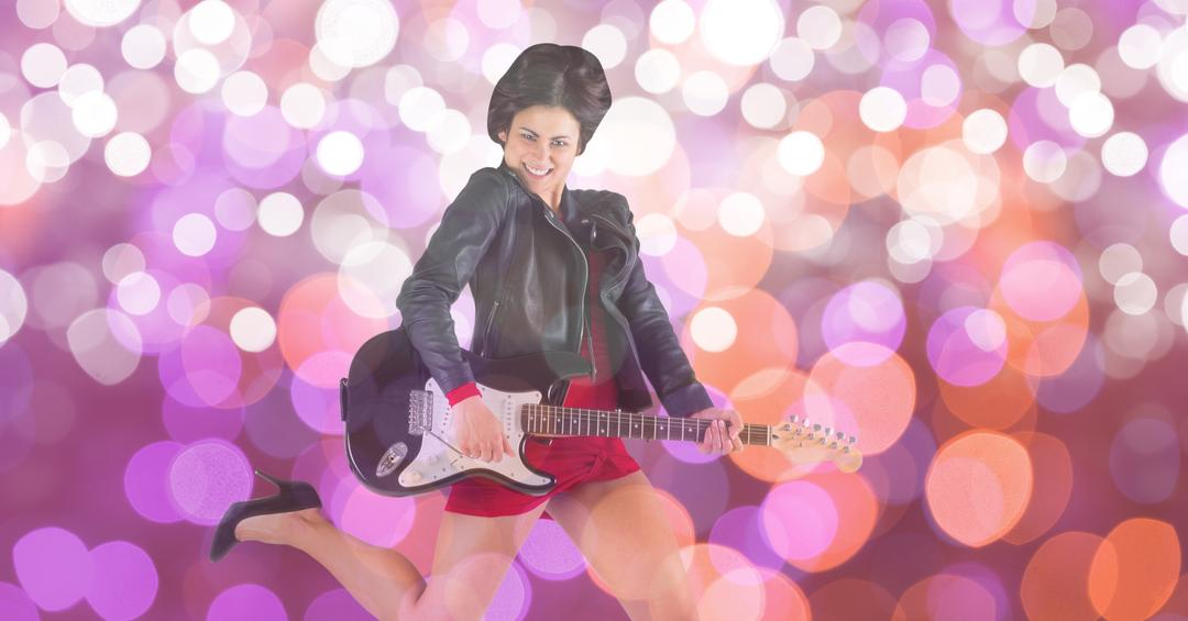 Digital composite of Music artist playing guitar over bokeh