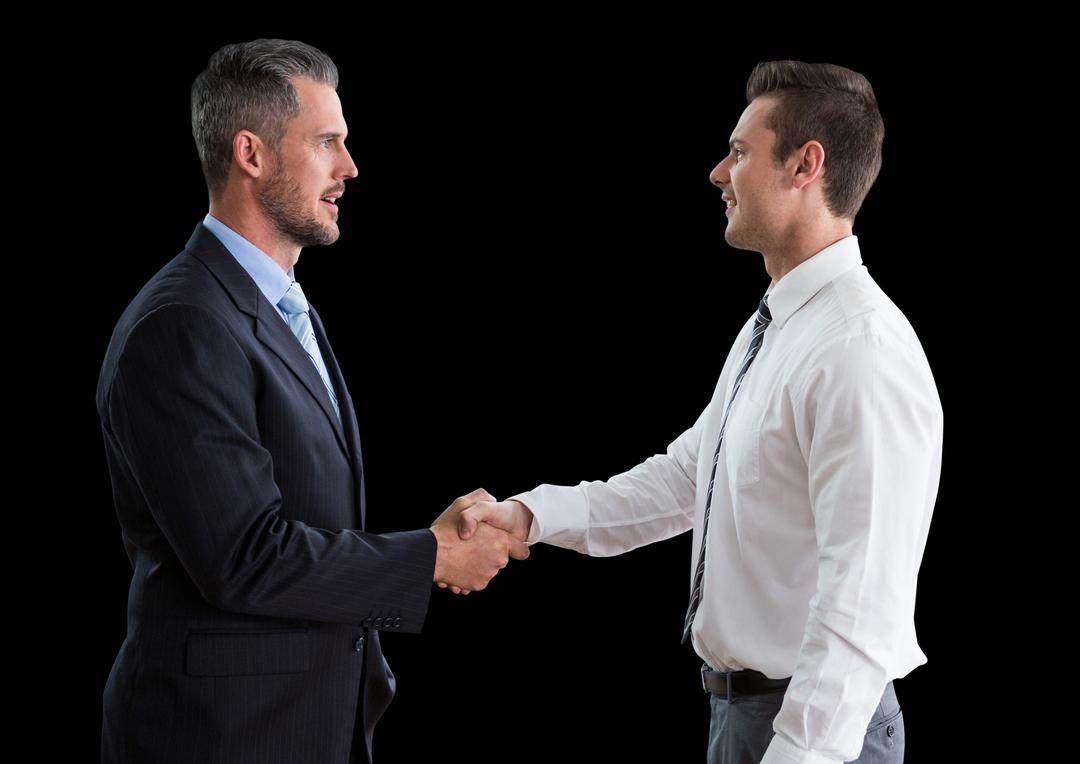 Digital composite of Business men shaking hands against black background
