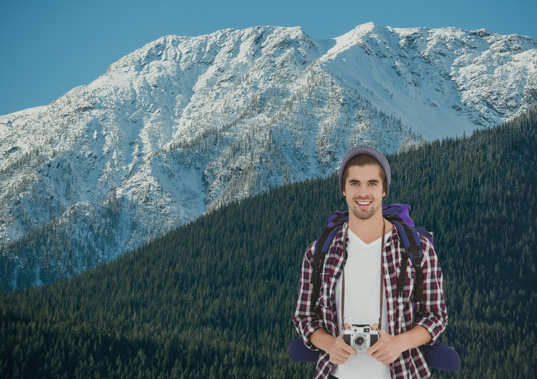 Digital composite of mountain travel, men mountaineer in front of a mountain with snow