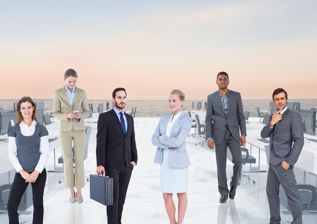 Digital composite image of well dressed business executives standing in office Free Stock Images from PikWizard