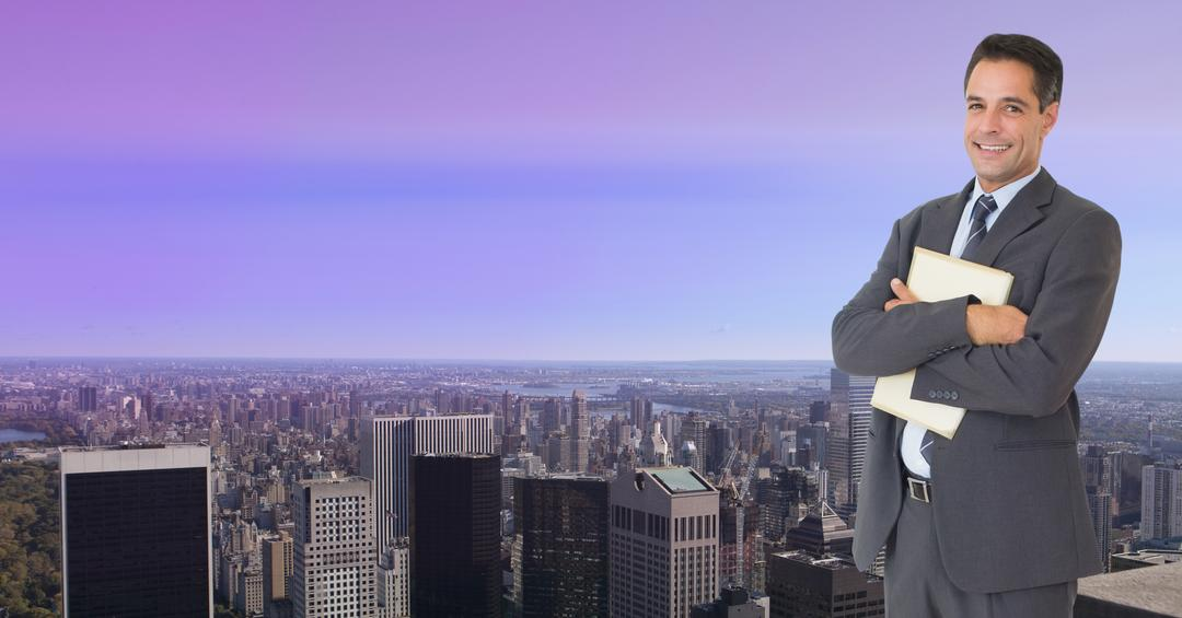 Digital composition of businessman standing with arms crossed against cityscape in background