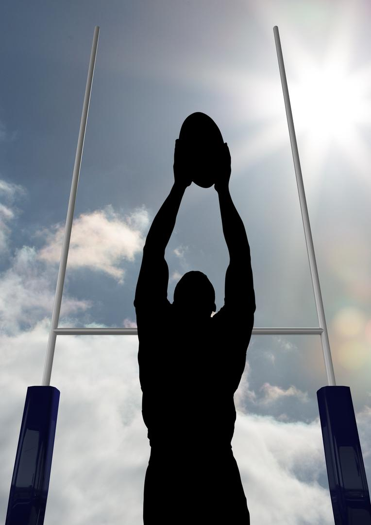 Digital composite image of silhouette athlete playing rugby on a sunny day