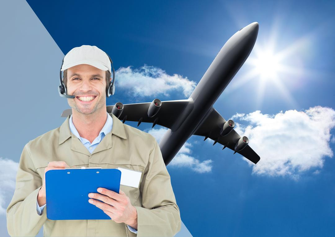 Digital composite image of delivery man wearing headset and writing on clipboard