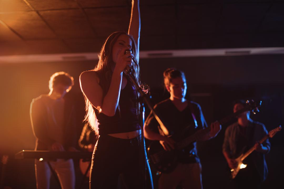 Band performing in recording studio