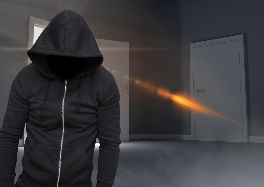 Digital composite of Anonymous criminal in hood in front of door Free Stock Images from PikWizard