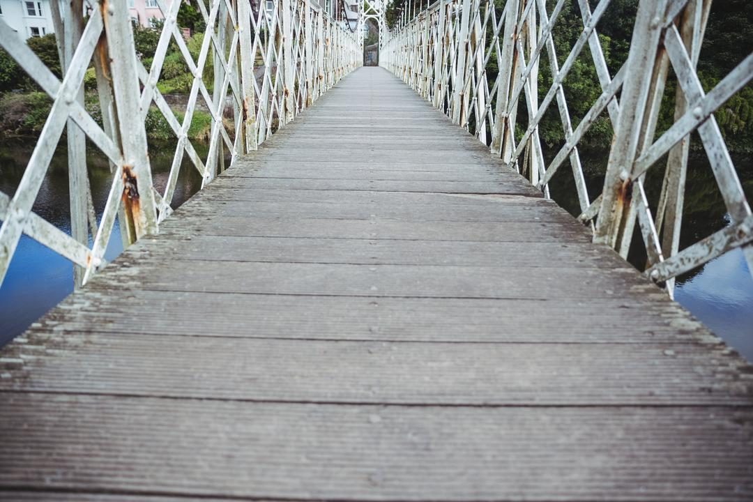 Wooden bridge over the river, backgrounds