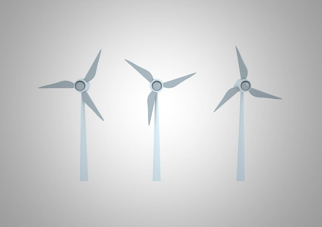 Digitally generated image of wind turbines against grey background