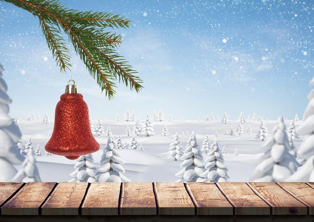 Digital composition of christmas bell hanging on branch of fir tree over wooden plank with snow covered trees in background Free Stock Images from PikWizard