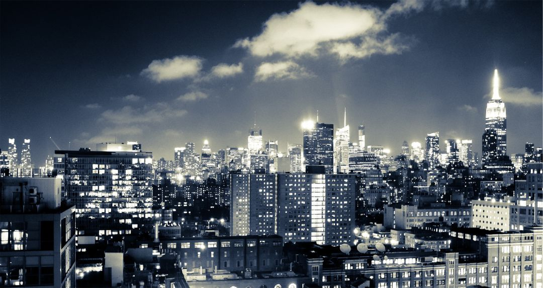 New York skyline night