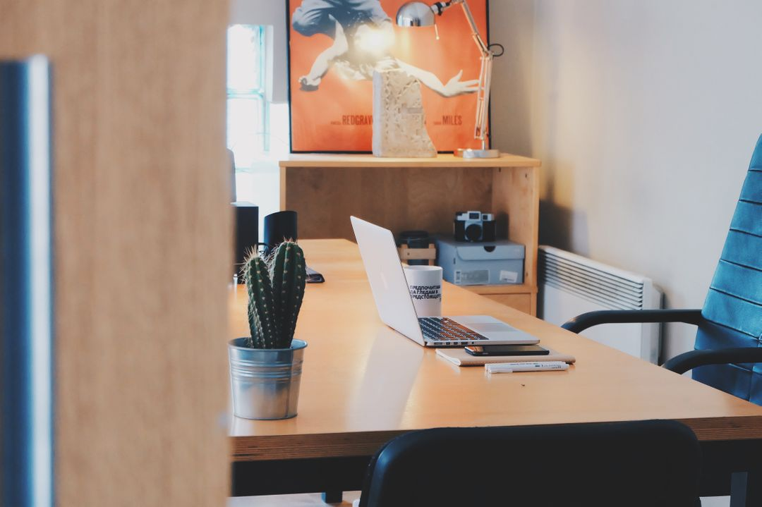 office with laptop, cactus and essentials background