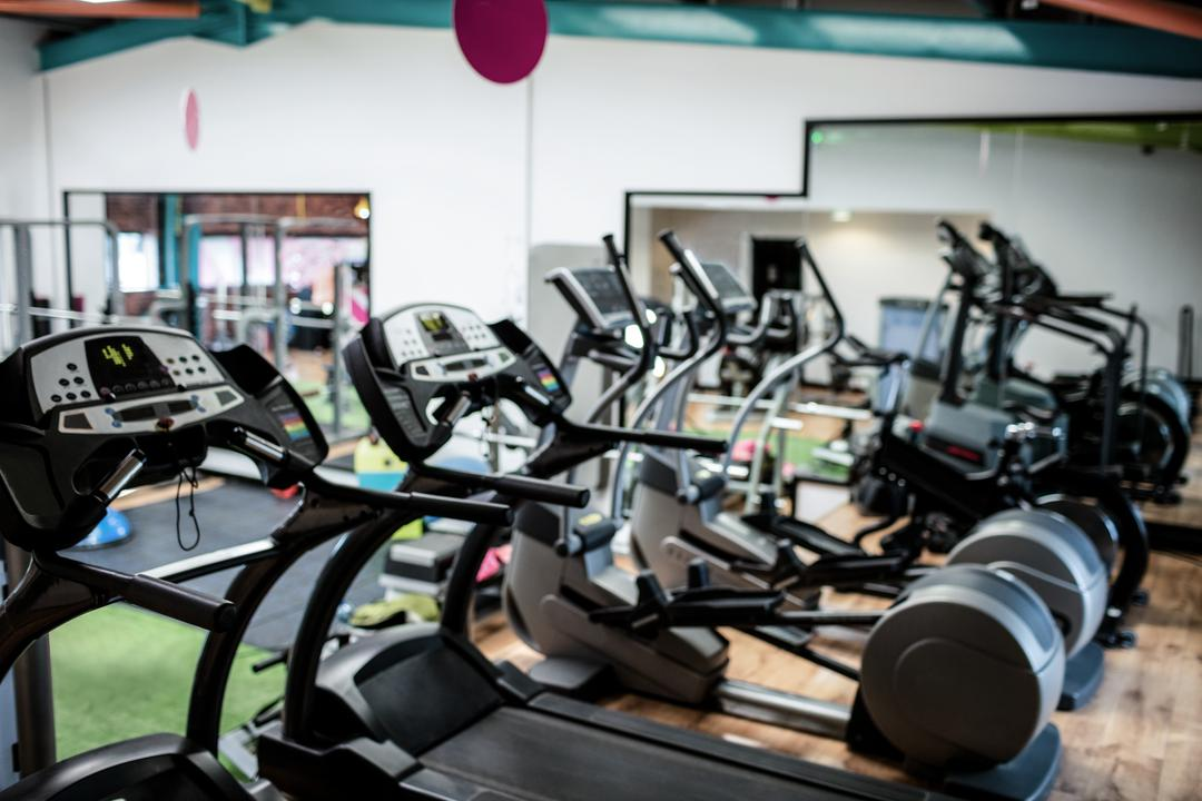 View of empty gym equipment in fitness studio