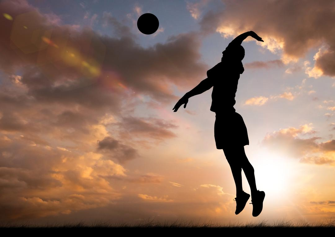 Silhouette of player hitting a ball