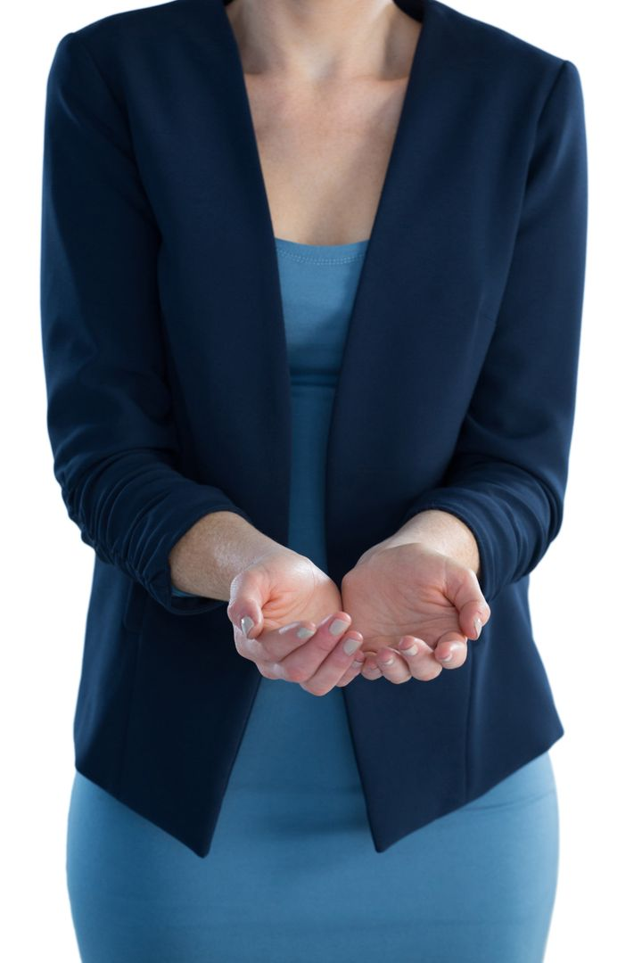 Mid section of businesswoman standing with hands cupped against white backgorund Free Stock Images from PikWizard