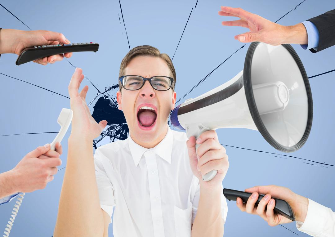 Digital composite image of male executive shouting on megaphone