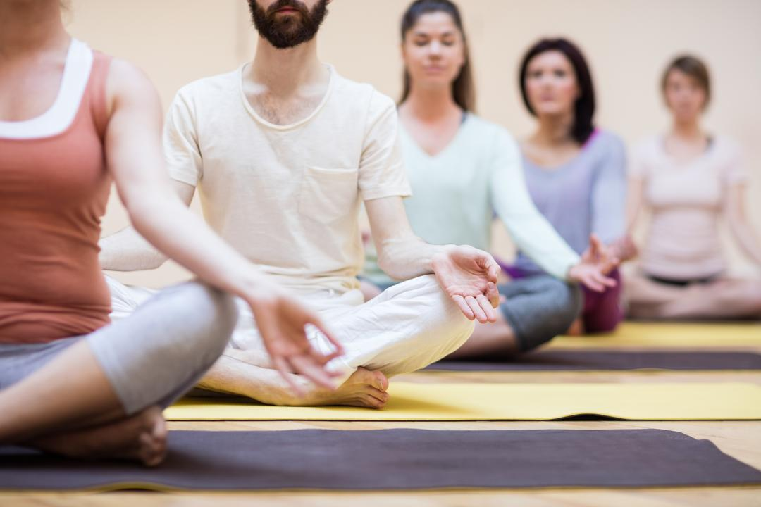 Group of people sitting in lotus position in the fitness studio Free Stock Images from PikWizard