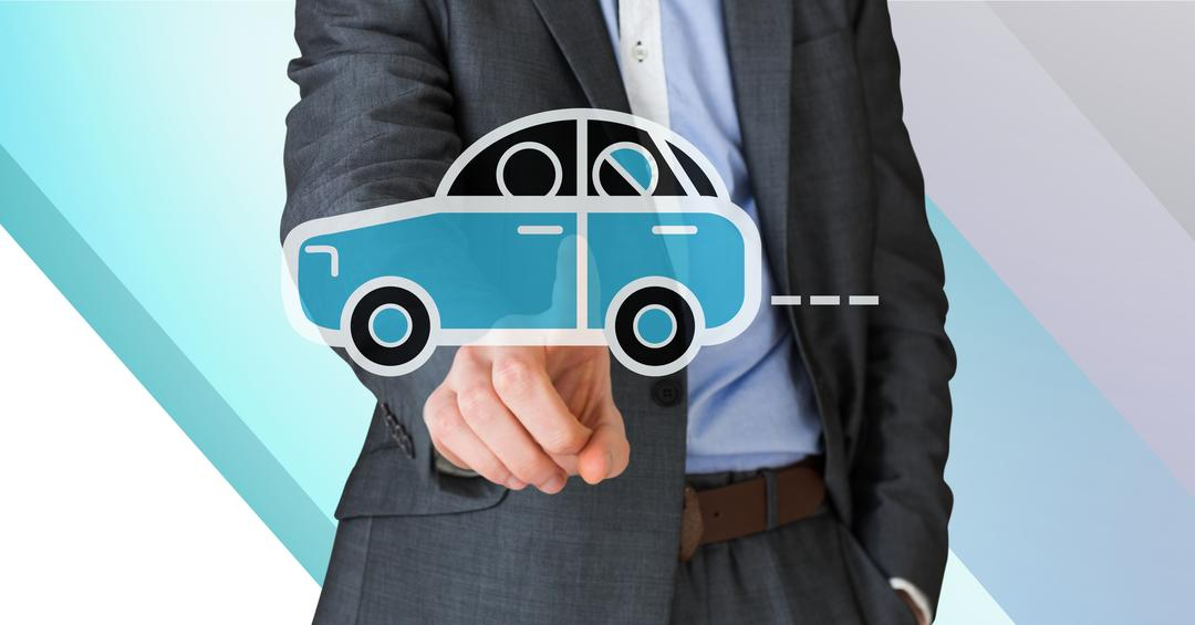 Digital composition of businessman touching car vector sign Free Stock Images from PikWizard