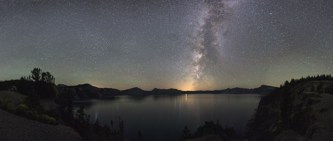 Image of a Lake at Night with Starry Sky