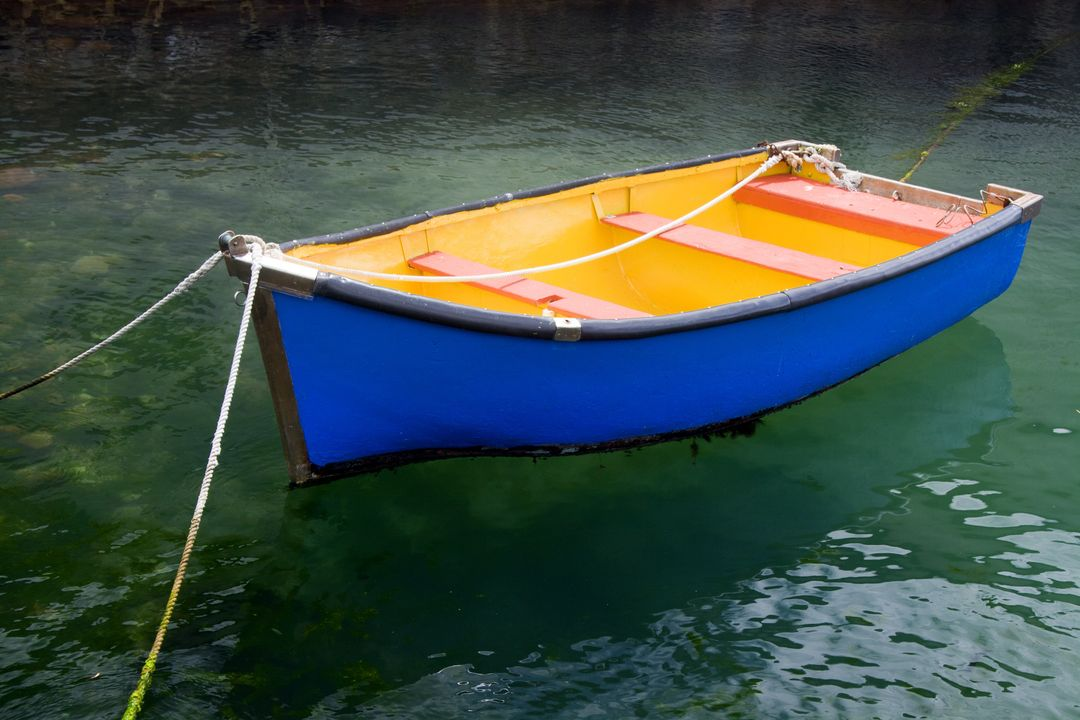 Blue boat color water