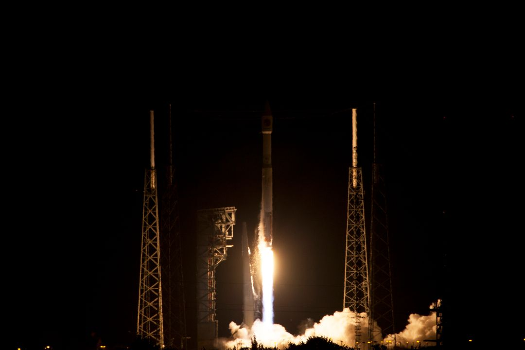 A United Launch Alliance Atlas V rocket lifts off from Space Launch Complex 41 at Cape Canaveral Air Force Station carrying an Orbital ATK Cygnus resupply spacecraft on a commercial resupply services mission to the International Space Station. Liftoff was at 11:05 p.m. EDT. Cygnus will deliver the second generation of a portable onboard printer to demonstrate 3-D printing, an instrument for first space-based observations of the chemical composition of meteors entering Earth's atmosphere and an experiment to study how fires burn in microgravity.