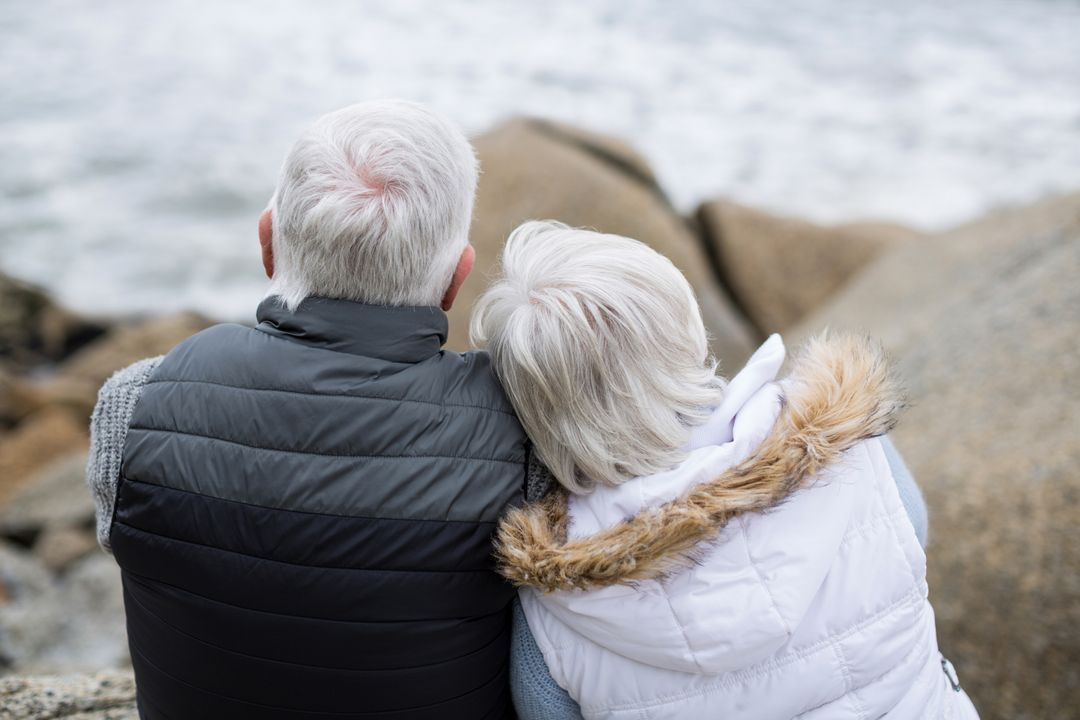 Rear view of senior couple sitting on rock at beach Free Stock Images from PikWizard
