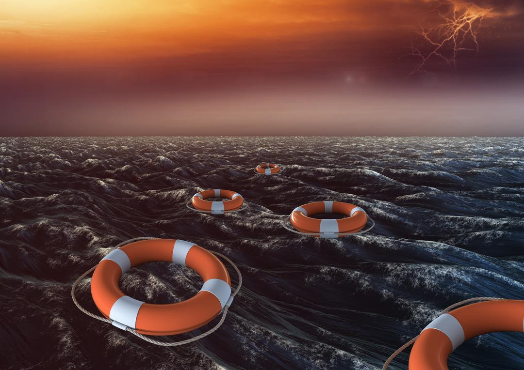 Digital composite image of lifebuoy floating on sea in stormy weather