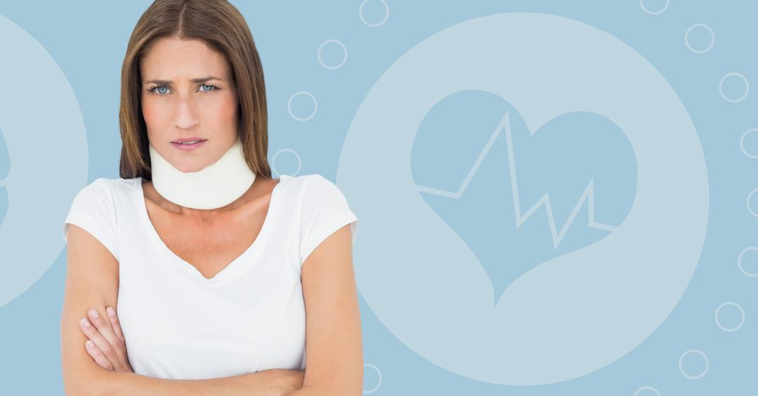 Digital composite image of female patient wearing cervical collar standing with arms crossed against medical background