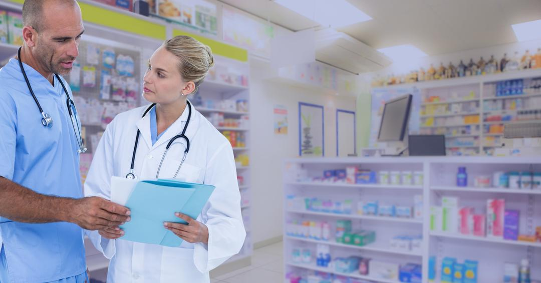 Digital composite of Doctors discussing over reports at pharmacy