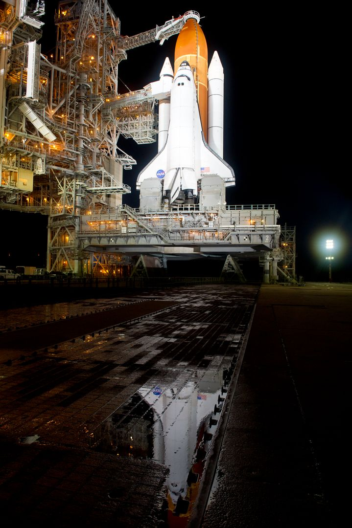The space shuttle Endeavour is seen on launch pad 39a after the rollback of the Rotating Service Structure (RSS), Thursday, April 28, 2011, at Kennedy Space Center in Cape Canaveral, Fla. During the 14-day mission, Endeavour and the STS-134 crew will deliver the Alpha Magnetic Spectrometer (AMS) and spare parts including two S-band communications antennas, a high-pressure gas tank and additional spare parts for Dextre. Launch is targeted for Friday, April 29 at 3:47 p.m. EDT.  Photo credit: (NASA/Bill Ingalls)