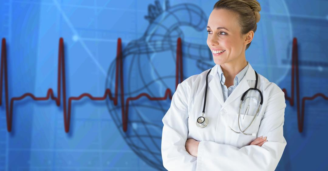 Digital generated image of female doctor standing with arms crossed with heart rate background