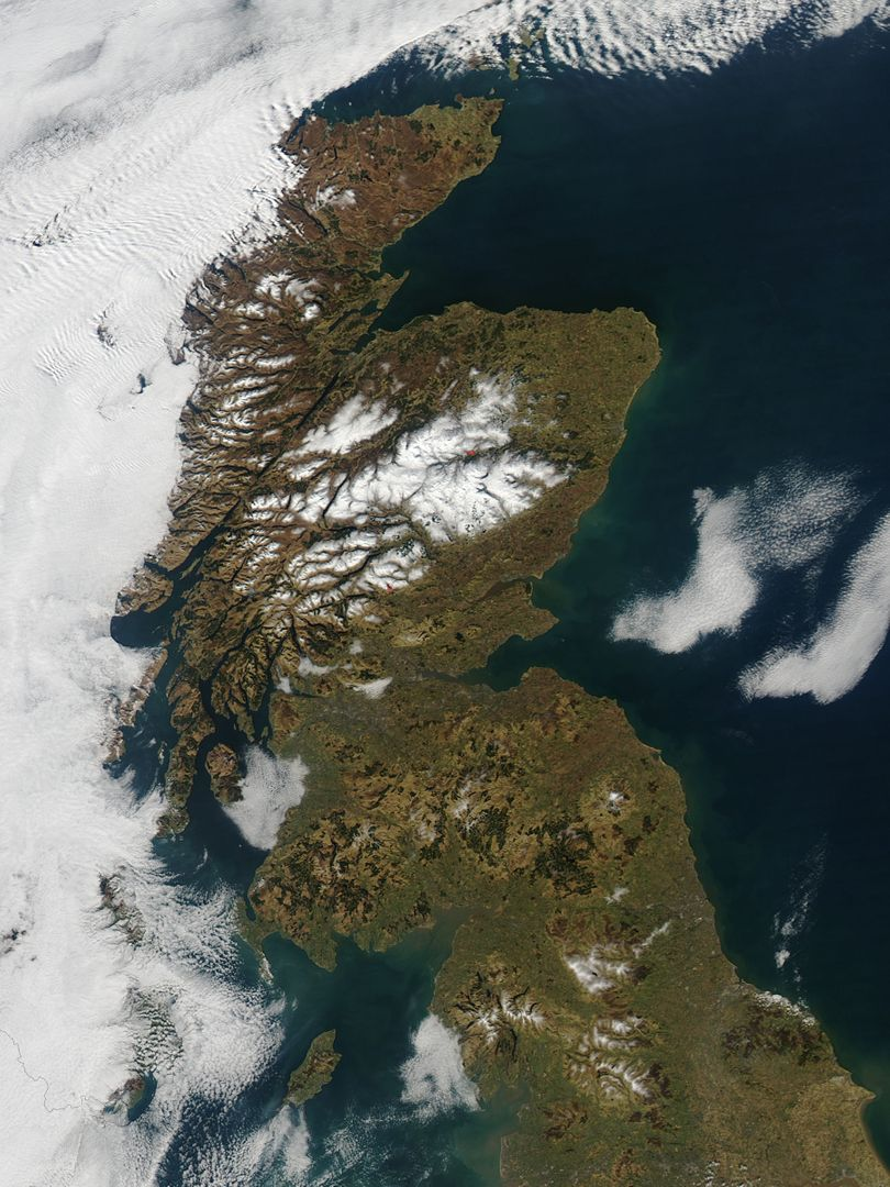 "In late February, 2013 the Aqua satellite passed over Scotland as the clouds parted, allowing the Moderate Resolution Imaging Spectroradiometer (MODIS) flying aboard to capture a clear image of the late winter landscape. This image was captured at 1320 UTC (1:20 in the afternoon local time) on February 27.  England makes up about the southern third of the image. The border between England and Scotland runs from the River Tweed on the east coast and the Solway Firth along the Cheviot Hills of the west coast. The Solway Firth is an estuary of the Irish Sea, and was filled with tan-colored sediment at the time of this image. Further north on the west coast of Scotland, the Firth of Clyde is hidden under a bank of low clouds (fog).  Scotland's Southern Uplands lie just north of the border and the Central Lowlands just north of that. The Grampian Mountains are found in the center of the country, and the high peaks wear a covering of snow and ice year-round. Finally the Northern Highlands can be seen peeking out from under a large bank of clouds.  The Northern Highlands and the Grampian Mountains are separated by a striking feature - the Great Glen Fault. This is a 100 km-long strike-slip fault which runs from Moray Firth in the east to Fort William at the head of Loch Linnhe in the west. The Great Glen contains the United Kingdom's deepest freshwater loch, the famous Loch Ness.  Credit: NASA/GSFC/Jeff Schmaltz/MODIS Land Rapid Response Team  <b><a href=""http://www.nasa.gov/audience/formedia/features/MP_Photo_Guidelines.html"" rel=""nofollow"">NASA image use policy.</a></b>  <b><a href=""http://www.nasa.gov/centers/goddard/home/index.html"" rel=""nofollow"">NASA Goddard Space Flight Center</a></b> enables NASA's mission through four scientific endeavors: Earth Science, Heliophysics, Solar System Exploration, and Astrophysics. Goddard plays a leading role in NASA's accomplishments by contributing compelling scientific knowledge to advance the Agency's mission.  <b>Follow us on <a href=""http://twitter.com/NASA_GoddardPix"" rel=""nofollow"">Twitter</a></b> <b>Like us on <a href=""http://www.facebook.com/pages/Greenbelt-MD/NASA-Goddard/395013845897?ref=tsd"" rel=""nofollow"">Facebook</a></b> <b>Find us on <a href=""http://instagram.com/nasagoddard?vm=grid"" rel=""nofollow"">Instagram</a></b>"