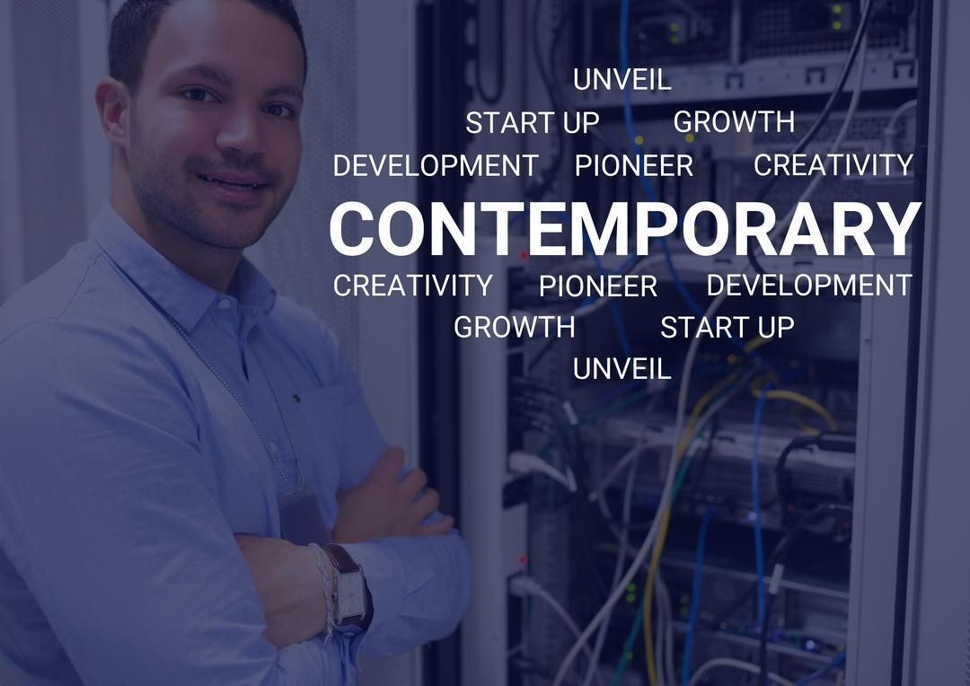 Digital composition of businessman in server room with business startup words