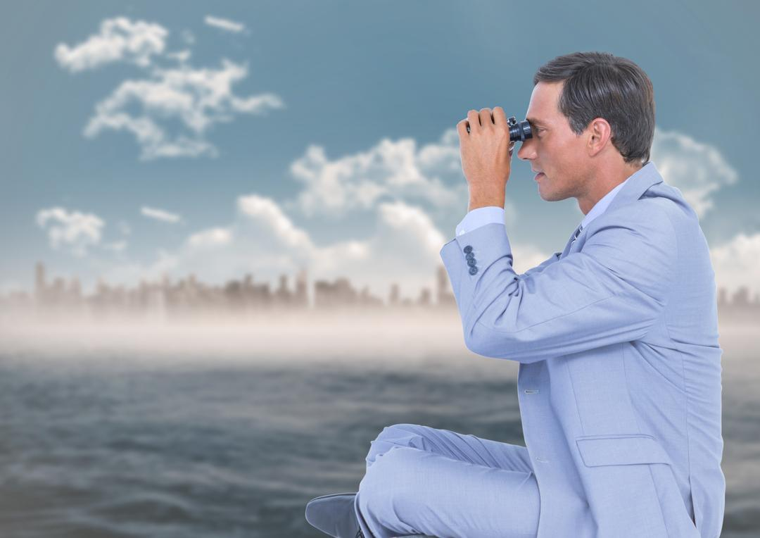 Digital composite of Business man with bionoculars against water and blurry skyline Free Stock Images from PikWizard