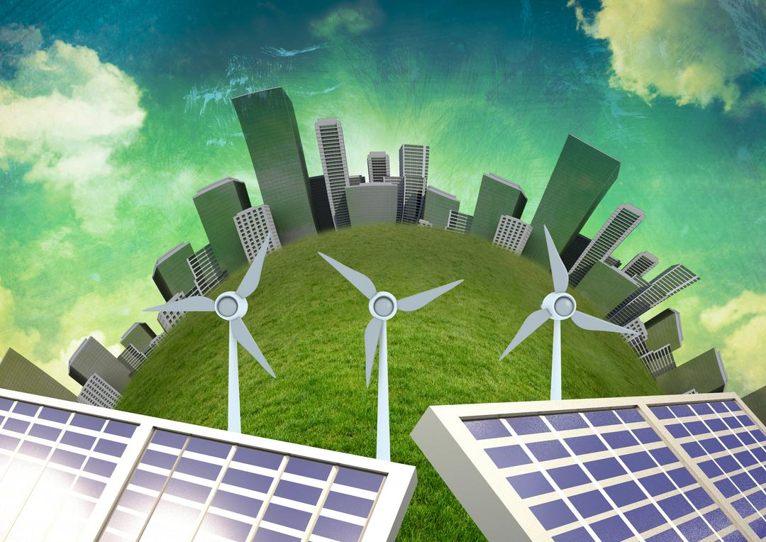 Digital generated image of wind turbine and solar panels against city background Free Stock Images from PikWizard