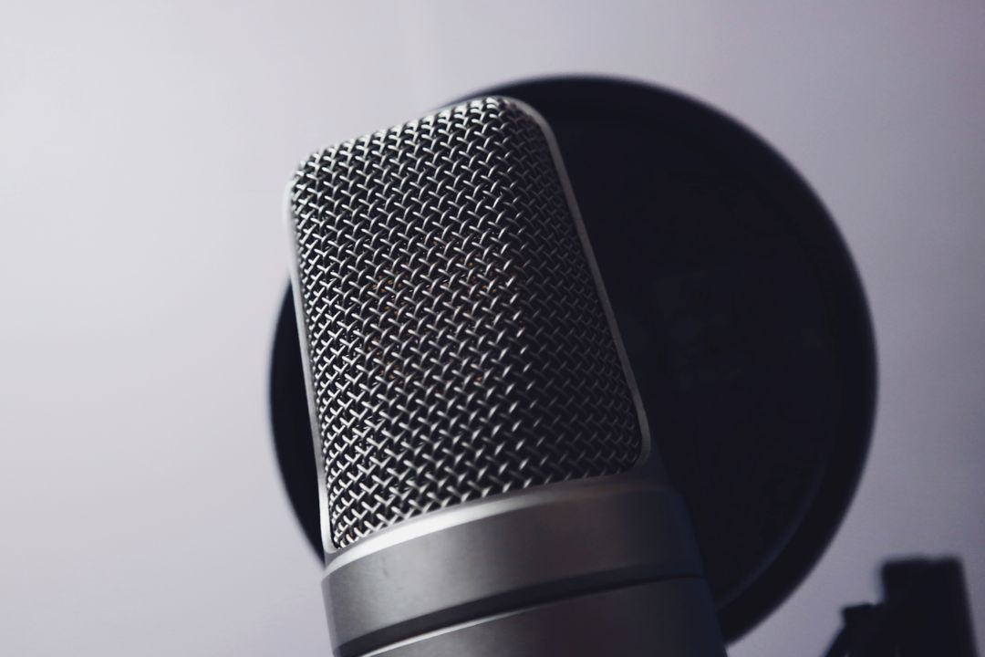 close up of a grey microphone on a stand