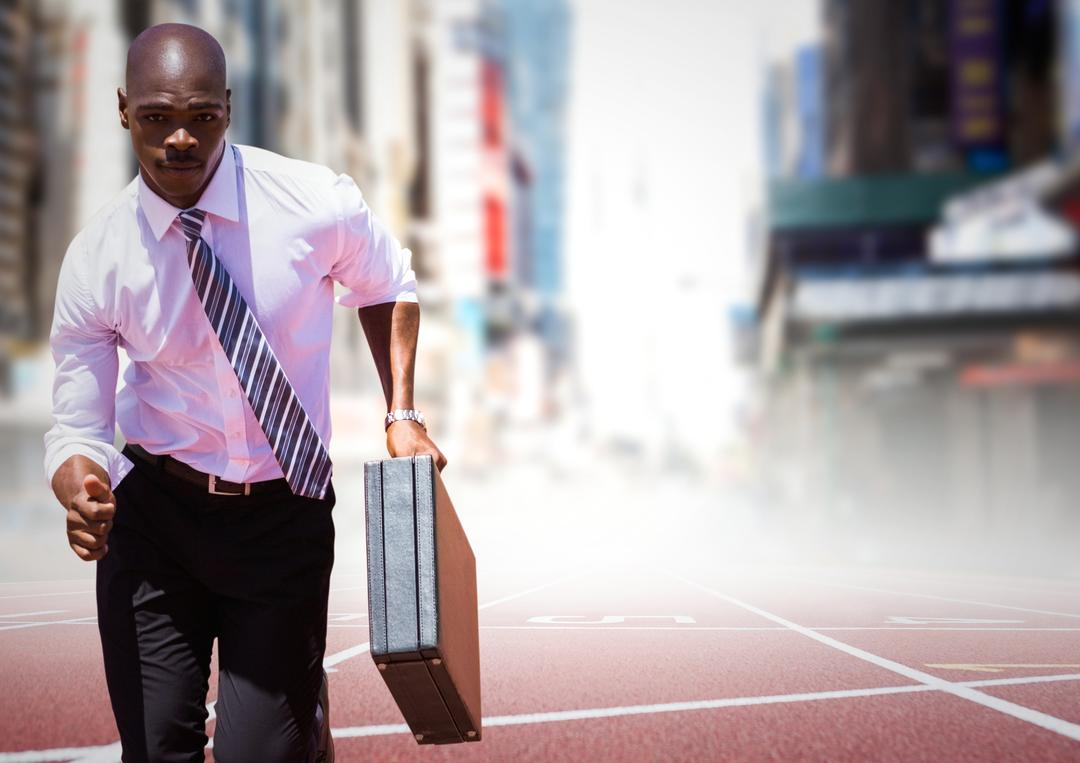 Digital composite of Business man running with briefcase on track against blurry city