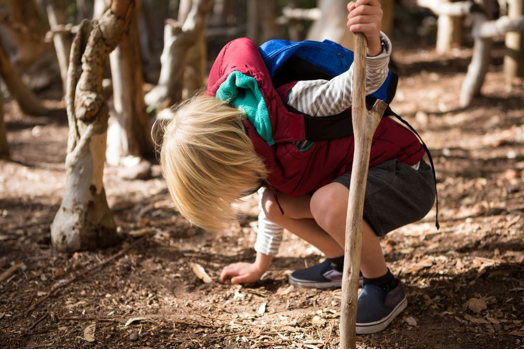 Little girl with stick touching ground in the forest Free Stock Images from PikWizard