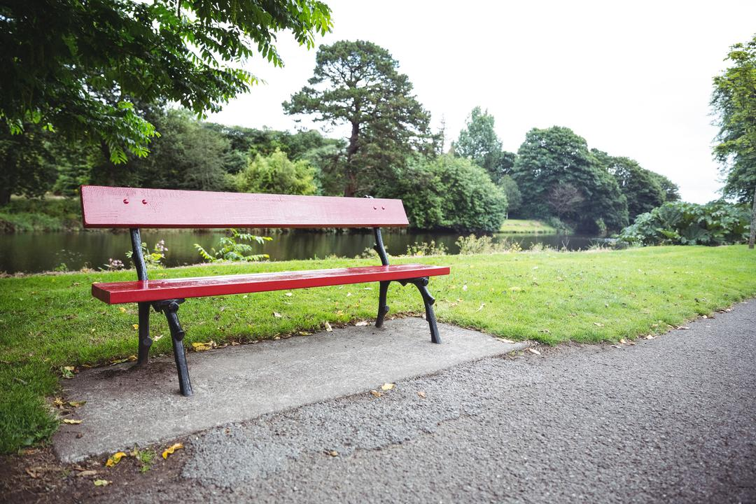 Empty red wooden bench at lakeside, backgrounds Free Stock Images from PikWizard