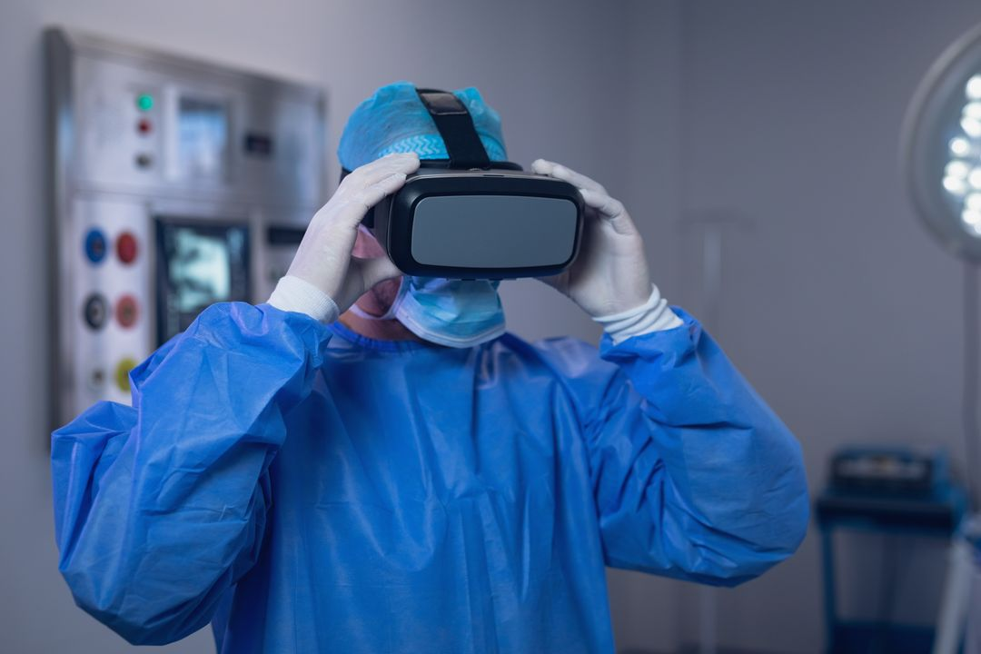 Male surgeon using virtual reality headset in operating room at hospital